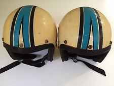 2 Vintage Snell Helmets Italy With Sno Jet Stickers And Racing Stripes