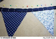 Cómo hacer banderines de tela (técnica 1- zig zag) | my craft room Alpillera Ideas, Bunting Tutorial, Sewing Crafts, Diy Crafts, Bunting Garland, Buntings, Christen, Paper Toys, Kids Room