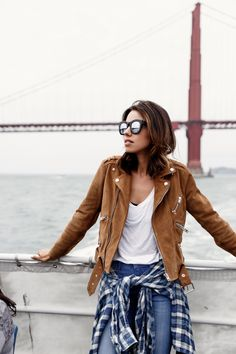 Street style, casual outfit, spring chic, brown velvet leather jacket, white tee, shirt, jeans