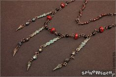New Neo-Victorian Collier  necklace czech beads copper