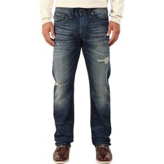 True Religion Ricky w/ Flaps Jeans in Broken City (Broken City) Men's... ($125) ❤ liked on Polyvore featuring men's fashion, men's clothing, men's jeans, blue, mens blue jeans, mens leather jeans, mens jeans, mens low rise straight leg jeans and mens low rise jeans