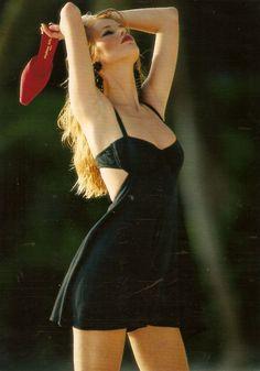 """""""Noir Venusien"""", Elle France, May 1992 Photographer : Hans Feurer Model : Claudia Schiffer Hair : Jean-Louis David for Bruce Libre"""