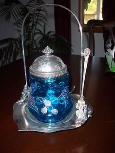 Victorian Antique Wilcox Silverplate Pickle Castor EAPG Blue Enameled Glass | eBay
