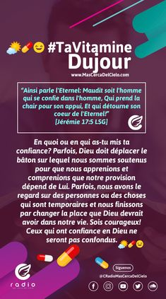 #TaVitamineDuJour #TuVitaminaDelDía Christians, Cover Pages, Lord, God, Self Confidence, I Want You, D Day