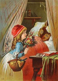 Little Red Riding Hood-What big eyes you have!   Carl Offterdinger (1829 – 1889, German)