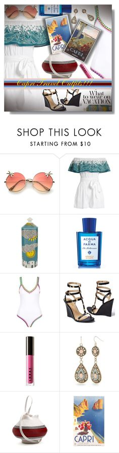 """Capri Travel Outfits - Italy!!!"" by sarahguo ❤ liked on Polyvore featuring Mara Hoffman, Fornasetti, Acqua di Parma, kiini, Venus, LORAC, Red Camel, Rosie Assoulin, Italy and capri"