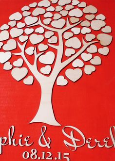 This wedding guest book alternative gives a nice touch to your wedding. The guestbook features tree of hearts made of wood - your guests get to sign