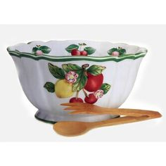 Villeroy & Boch French Garden Accessories Figural Salad Bowl with Serving Set 10 3/4 in-01