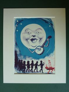 1935 Vintage picture of the Man in the Moon playing a banjo,  vintage children's art print of moon and stars