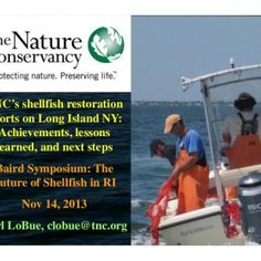 TNC's shellfish restoration efforts on Long Island NY: Achievements, lessons learned, and next steps Baird Symposium: The Future of Shellfish in RI Nov 14,. http://slidehot.com/resources/carl-lobue-tncs-shellfish-restoration-efforts-on-long-island-ny-achievements-lessons-learned-and-next-steps-baird-symposium.18622/