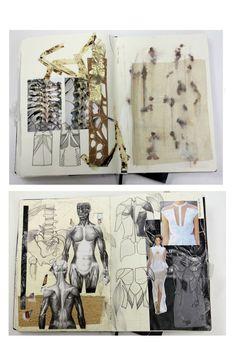 Fashion Sketchbook - fashion design exploring patterns & structure of musculature & the human skeleton - fashion sketches, samples & development; fashion portfolio // Natasha Elliott