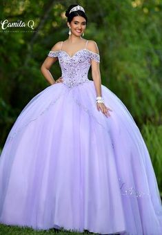 Camila Q Quinceanera Dress Q 18010 Off the shoulder straps embellished bodice full tulle skirt. Available colors: Light Purple, Blush Available sizes: 30 Lavender Quinceanera Dresses, Robes Quinceanera, Lavender Dresses, Quince Dresses, Quinceanera Ideas, Sweet Sixteen Dresses, Sweet 15 Dresses, Dresses Elegant, Beautiful Dresses
