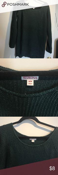 Deep green tunic sweater, size M Merona, Deep green tunic sweater, size M Merona Sweaters Crew & Scoop Necks