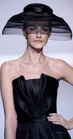 Ralph & Russo 2014. I remember my Mom had a hat very similar to this in the early 60's. It was blue velvet with the netting veil/brim also in blue. Gorgeous.