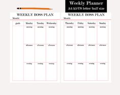Weekly Planner Printable Weekly Planner Pages by TheBossPlanner