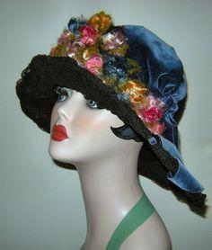 RARE 1920's Black Lace & Blue Velvet Big by VintageClothesNJunk, $375.00