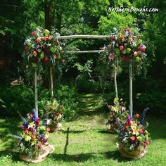 White Birch Chuppah Set (with stands)