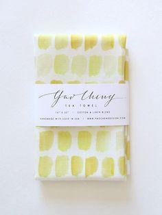 Yellow Dots Watercolor Tea Towel by YaoChengDesign on Etsy, $28.00
