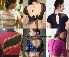 Know smart saree blouse back designs for a glam look like designer blouses sheer back slit blouse knotted buttoned cut out lace etc Blouse Back Neck Designs, Choli Designs, Fancy Blouse Designs, Neckline Designs, Dress Designs, Saree Jacket Designs, Glam Look, Stylish Blouse Design, Blouse Models