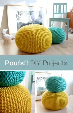 Poufs are a multi-functional and stylish addition to any room in the house. Make… Poufs are a multi-functional and stylish addition to any room in the house. Make your own for less with the help of this DIY pouf tutorial. Pouf En Crochet, Crochet Home, Crochet Crafts, Crochet Projects, Crochet Pouf Pattern, Knitted Pouf, Yarn Projects, Crotchet, Fabric Crafts