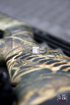 """Engagement Photo Op! Would be cute to have the bridesmaids wear waders for the wedding (""""wading our whole life to find the one"""") & groomsmen hold shotguns (""""the hunt is over"""") :)"""