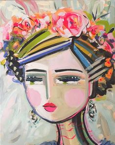 Warrior Girl Print woman art impressionist modern abstract girl paper or canvas Abstract Faces, Abstract Art, Grand Art, Frida Art, Warrior Girl, Painting Of Girl, Face Art, Painting Inspiration, Watercolor Art