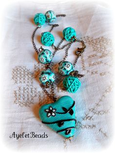 Polymar clay handmade beads and pendant necklace. one of a kind