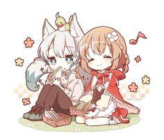 Cute Anime Chibi, Kawaii Chibi, Kawaii Anime Girl, Anime Art Girl, Anime Love, Friend Anime, Anime Best Friends, Kawaii Drawings, Cute Drawings
