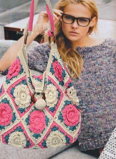 森女复古手工编织包 - Granny Square Bag...another version of the Granny Square bag...oh so pretty