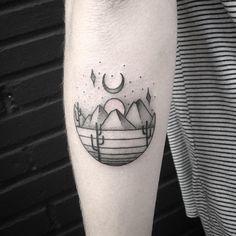 Desert scape with sun and moon - Modern Cute Tattoos, Beautiful Tattoos, New Tattoos, Tatoos, Wüsten Tattoo, Desert Tattoo, Matching Tats, Cactus Tattoo, Tattoo Und Piercing