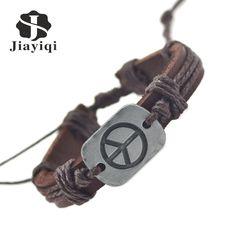 Jiayiqi 2017 nuevo genuino de la paz pulseras de cuero para hombres de las mujeres pulseras y brazaletes joyería fina verano estilo en Pulseras del encanto de Joyas y Accesorios en AliExpress.com   Alibaba Group