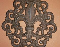 """Check out 11) Saints Home Decor, Fleur De Lis Wall Plaque, Solid cast iron, 9 1/2"""", Louisiana home decor, Fleur De Lis design, Free Ship, F-10 on wepeddlemetal"""