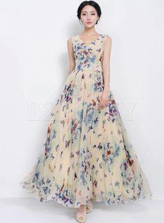 Beige Butterfly Print Sleeveless Bohemian Chiffon Maxi Dress - (A very pretty dress) Chiffon Maxi Dress, Strapless Dress Formal, Pleated Skirt, Formal Dress, Chiffon Vestidos, Elegant Maxi Dress, Organza Dress, Pretty Dresses, Beautiful Dresses