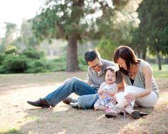 Family with one year old girl portrait