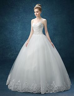 A-line Wedding Dress - White Floor-length Sweetheart Organza / Satin 4634967 2016 – $149.99