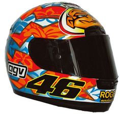 2001 - This was the 2001 helmet design that Rossi wore for Mugello. Despite the Hawaiian design, Mugello was wet and cloudy in 2001 and Rossi crashed out in the rain.
