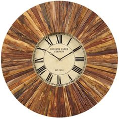 """Cooper Classics' Chatham is an incredible 36"""" oversized wall clock that will make a statement in any decor. The dial of the clock is a simple white/brown color, graced with elegant black Roman numerals and simple black clock hands under a glass lens. The casing, however, causes this clock to stand out against any setting, constructed from wood with a radiating wood grain pattern and enameled in a natural rustic wood finish. This beautiful clock is sure to be the conversation piece of any…"""