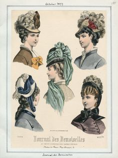 Journal des Demoiselles from October, 1877 for volume 50, plate 104. Casey Fashion Plate Index.