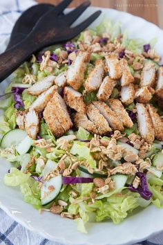 Crispy Baked Chicken Salad with Asian-Style Honey Mustard Dressing - a Copycat of Applebee's Oriental Salad