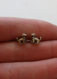 Sterling Silver Dog Earrings by onetime on Etsy. Fun little bits of dog love. #doglovergift #dogjewelry #dogart