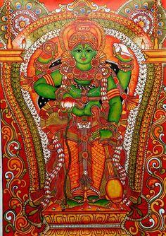 Dashavataram, in kerala mural style Kerala Mural Painting, Madhubani Painting, Krishna Painting, Large Painting, Painting Frames, Ganesha, Frases Yoga, Mural Art, Murals