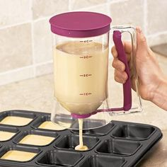 ASSIS Pancake Batter Dispenser Kitchen Easy Pour Home Kitchen Gadgets Perfect Baking of Cupcakes Waffles Cakes Muffin Mix Crepes Donuts or Any Baked Goods Bakeware Maker with Measuring Label Cooking Gadgets, Gadgets And Gizmos, Cool Gadgets, Cooking Tips, Kitchen Tools And Gadgets, Tech Gadgets, Newest Gadgets, House Gadgets, Must Have Kitchen Gadgets