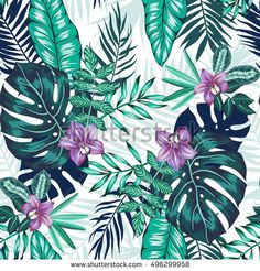 vector seamless dense tropical leaves pattern with flowers. orchid flower, palm leaf, monstera leaves, philodendron. modern summer jungle plants background allover print