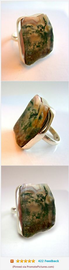 Natural Green Moss Agate Sterling Silver Ring, Slab Cut, Free Form, Vintage sz 6.75 #ring #sterlingsilver #gemstone #mossagate https://www.etsy.com/RenaissanceFair/listing/556285666/natural-green-moss-agate-sterling-silver?ref=listings_manager_grid  (Pinned using https://PromotePictures.com)