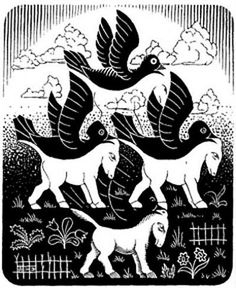 "Skot Foreman Gallery M. Escher ""Horses and Birds"" 1949 Wood engraving 3 x 2 in 8 x 7 cm Initialed ""MCE"" in the plate lower left corner Bool 363 © The M. Escher Company B. Mc Escher, Escher Kunst, Escher Art, Op Art, Mathematical Drawing, Escher Tessellations, Tessellation Art, Tesselations, Magritte"