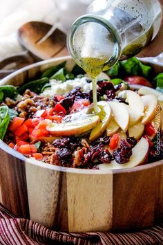 Apple Cranberry Bacon Candied Walnut Salad with Apple Poppy Seed Vinaigrette belongs on your table this Thanksgiving and all Autumn long!