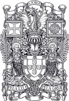 Portugal Logo, Knights Templar History, Family Crest Symbols, Chivalry, Crests, Pretty Art, Gravure, Teaching Art, Coat Of Arms