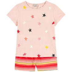 Black Satin Spot Slogan Short Pyjama Set