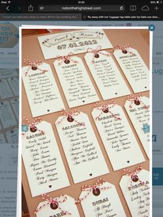 Luggage tag table plan in a frame