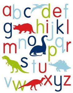 Nursery Art, Dinosaur Alphabet Poster